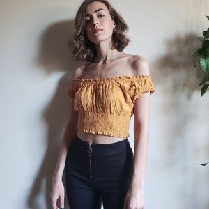 Off the Shoulder Eyelet Crop Top